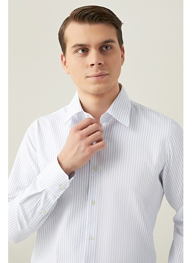 D'S Damat Slim Fit Çizgili Gömlek Beyaz
